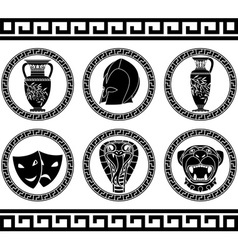 hellenic buttons stencil third variant vector image vector image