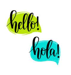 hello speech bubbles lettering vector image