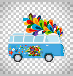 hippie bus on transparent background vector image vector image