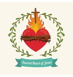 sacred heart of jesus design vector image