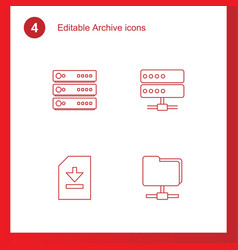 4 archive icons vector image