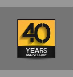40 years anniversary in square yellow and black vector