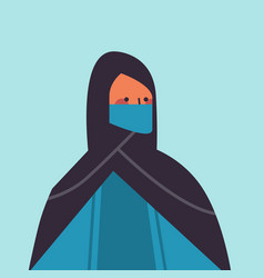 Arabic woman in traditional clothes wearing vector