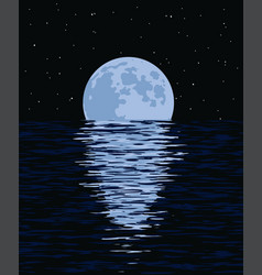 Background of sea and full moon at night vector