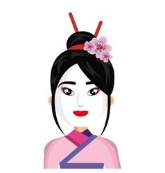 beautiful geisha character icon vector image