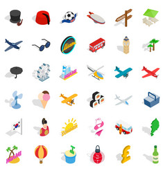 Big travel icons set isometric style vector