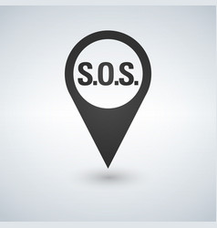 black flat map pointer sos point pin vector image
