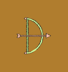 Bow and arrow icon in flat style in hatching style vector