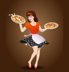 Cartoon waitress with two pizzas vector