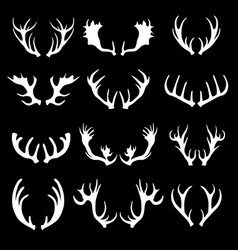 cartoon white silhouette deer horns set vector image