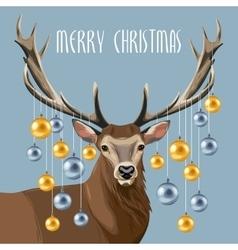 Christmas deer and christmas tree toys vector