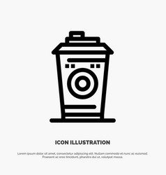 Coffee mug starbucks black coffee line icon vector