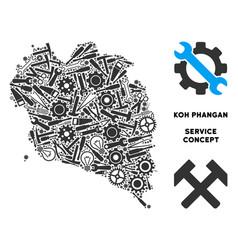 Collage koh phangan thai island map of service vector