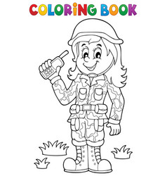 Coloring book female soldier theme 1 vector