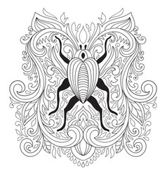 Colouring pages floral composition with bug vector