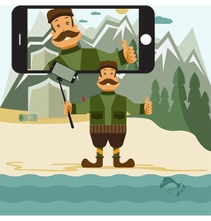 Concept flat design with hunter and selfie stick vector image