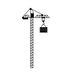 crane with load lift equipment building vector image