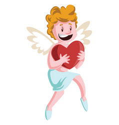 cupid holding a big red heart on white background vector image