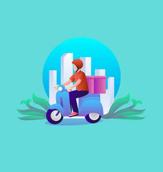 delivery man with box vector image