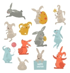 Easter bunny cute style set vector