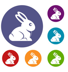 easter bunny icons set vector image