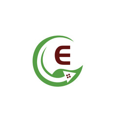 Eco home initial e vector
