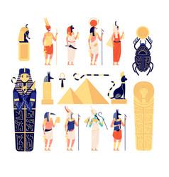 Egyptian elements ancient egypt gods goddess vector