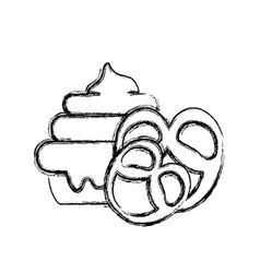 figure cake dessert with pretzel sweet food vector image