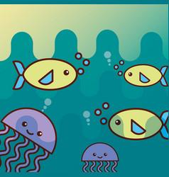 fish jellyfish sea life cartoon vector image