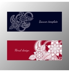 Floral pattern horizontal banner collection vector image