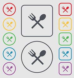 Fork and spoon crosswise Cutlery Eat icon sign vector image