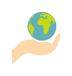 Globe in hand flat icon vector