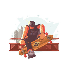 guy with long board vector image