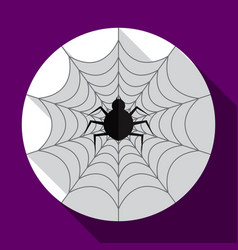 halloween spider on the web flat icon with long vector image