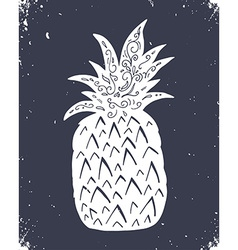 Hand drawn vintage label with pineapple vector