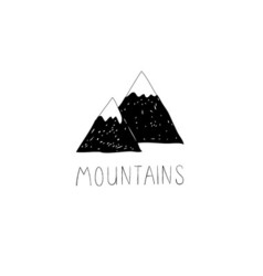 Hand drawn with wild mountains vector image