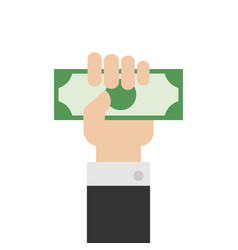 hand holding money or money in hand hand vector image
