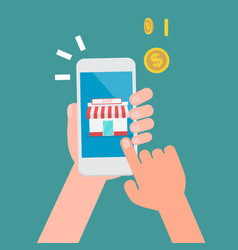 hands click to shopping icon on smartphone vector image
