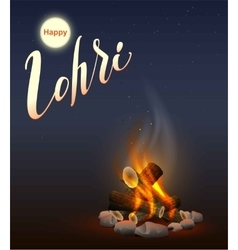Happy Lohri Punjabi festival Fire burning wood vector image