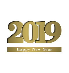 happy new year card gold shiny number 2019 with vector image