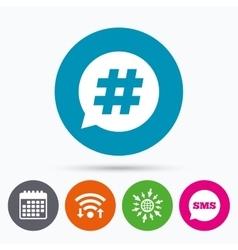Hashtag speech bubble sign icon vector image