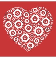 Heart shape mosaic of cog wheels vector