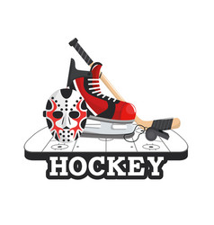 Hockey mask with skates and sticks in the rink vector
