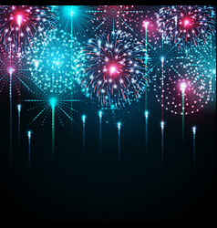 holiday festival blue and pink firework vector image