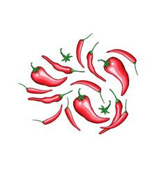 hot chili pepper flat set vector image