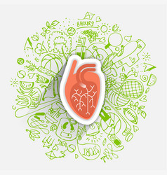 Human heart concept about healthy lifestyle and vector
