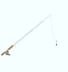 image of fishing rod with fishing line and float vector image