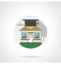 Intelligent house round color detailed icon vector