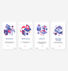 Isometric data protection network security ux ui vector