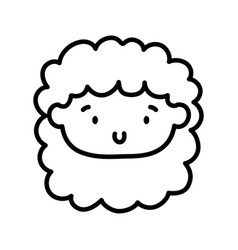 kids toy cute face little doll icon thick line vector image